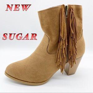NEW-Sugar-Tan leather & Fabric Fringe Heel Boot 9